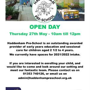Open Day - Thursday 27th May 2021 10am-12pm